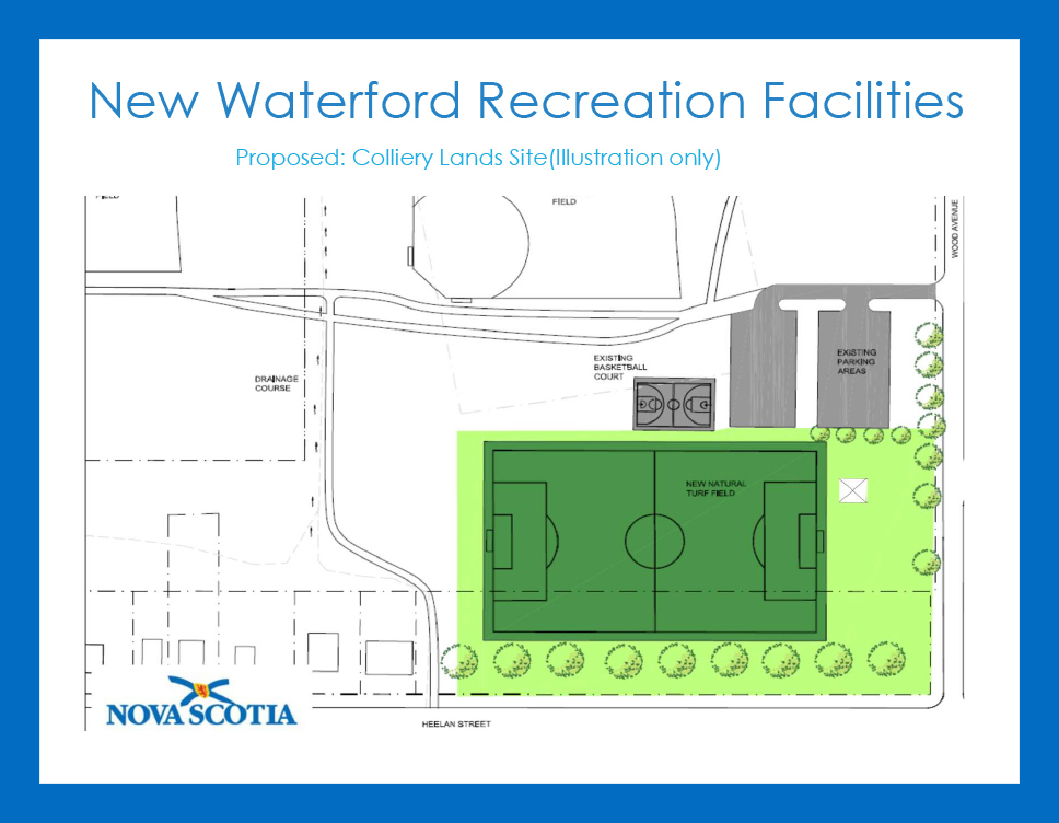 Illustration of proposed site for Colliery Lands park, part of New Waterford Recreation Facilities.
