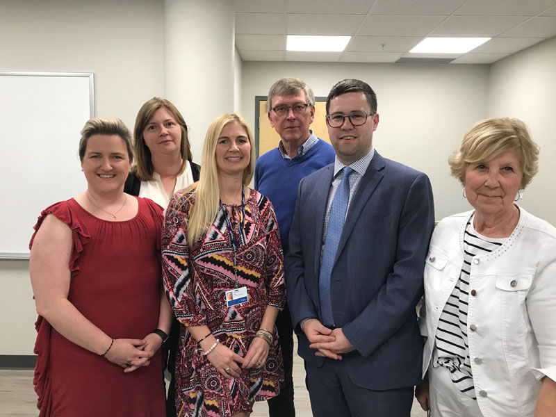 CBRM Health Care Redevelopment Team's Patient and Family Advisors (left to right): Danielle Baldwin-Boutilier; Marcie MacKinnon; Lead Walsh-Wilton; Jim Merkley; Nicholas Burke; and Christine Bonner. Absent at the time of the photo: Paul Muise.